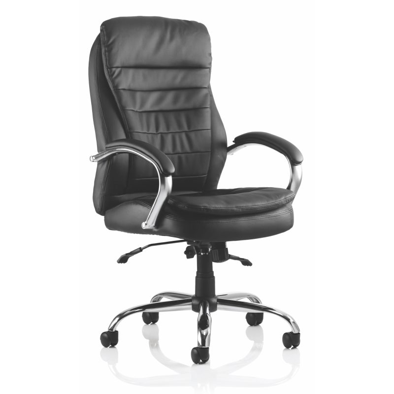 Rocky Executive Chair Black Leather High Back With Arms