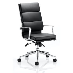 Savoy Executive High Back Chair Black Bonded Leather With Arms