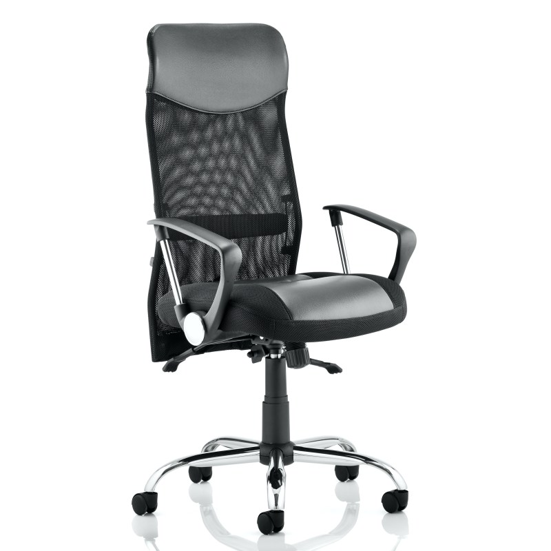 Vegas Executive Chair Black Leather Seat Black Mesh Back With Leather Headrest With Arms