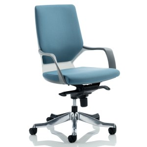 Xenon Executive White Shell Medium Back Blue Fabric With Arms