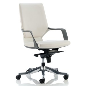 Xenon Executive White Shell Medium Back White Leather With Arms