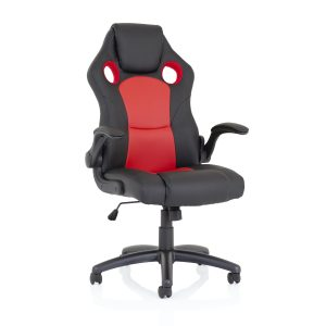 Enzo Racing Red and Black Bonded Leather Chair
