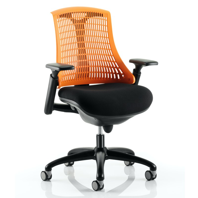 Flex Task Operator Chair Black Frame With Black Fabric Seat Orange Back With Arms