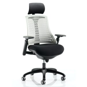 Flex Task Operator Chair Black Frame With Black Fabric Seat Moonstone White Back With Arms With Headrest
