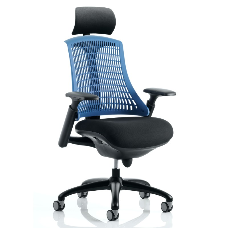 Flex Task Operator Chair Black Frame With Black Fabric Seat Blue Back With Arms With Headrest