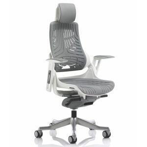 Zure Executive Chair Elastomer Gel Grey With Arms With Headrest