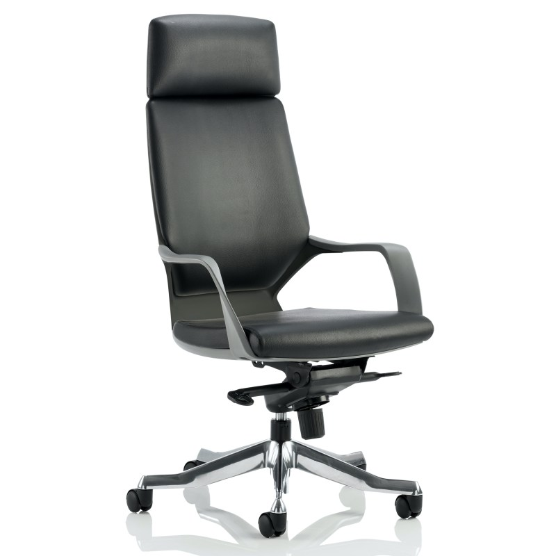 Xenon Executive Black Shell High Back Black Leather With Headrest