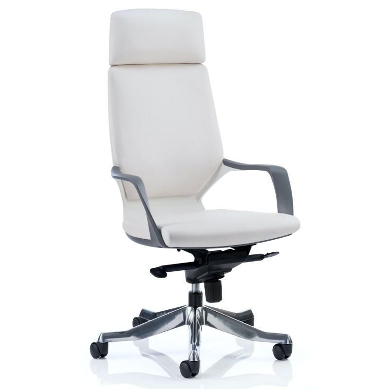 Xenon Executive White Shell High Back White Leather With Headrest