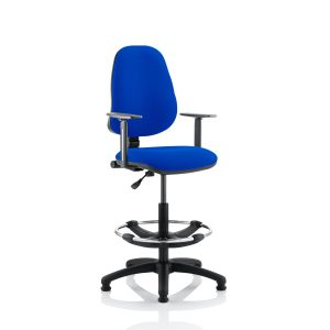 Eclipse I Lever Task Operator Chair Blue With Height Adjustable Arms With Hi Rise Draughtsman Kit