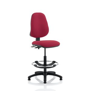 Eclipse II Lever Task Operator Chair Wine With Hi Rise Draughtsman Kit