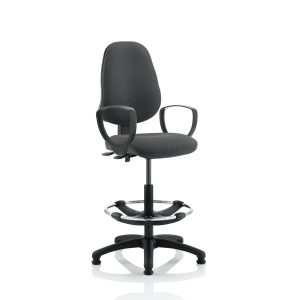 Eclipse II Lever Task Operator Chair Charcoal With Loop Arms With Hi Rise Draughtsman Kit