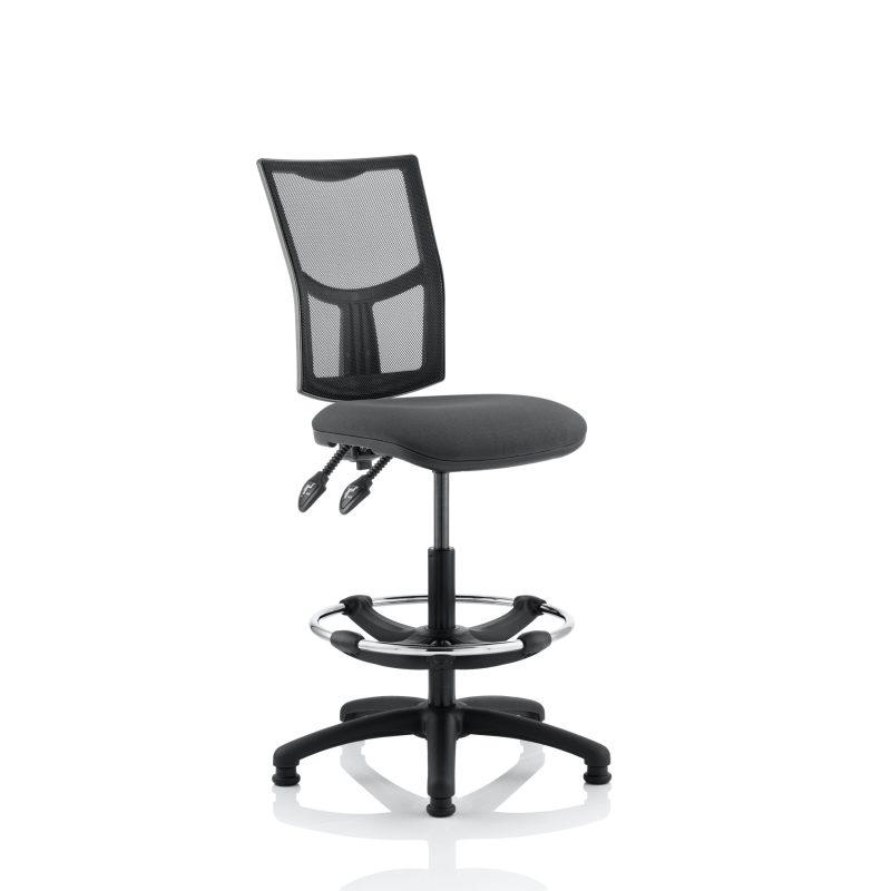 Eclipse II Lever Task Operator Chair Mesh Back With Charcoal Seat With Hi Rise Draughtsman Kit