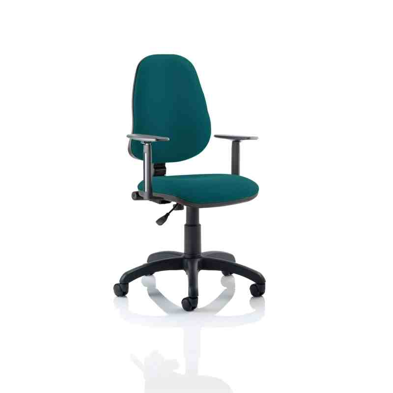 Eclipse I Lever Task Operator Chair Bespoke With Height Adjustable Arms In Maringa Teal