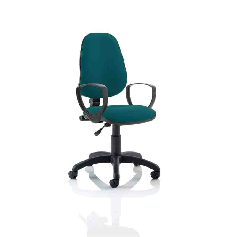 Eclipse I Lever Task Operator Chair Bespoke With Loop Arms In Maringa Teal