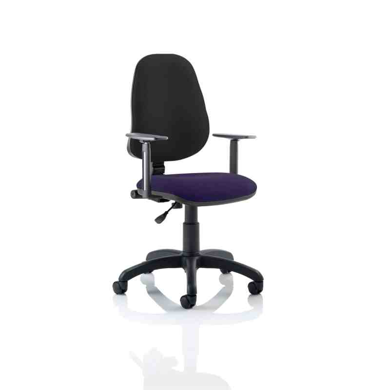 Eclipse I Lever Task Operator Chair Black Back Bespoke Seat With Height Adjustable Arms In Tansy Purple