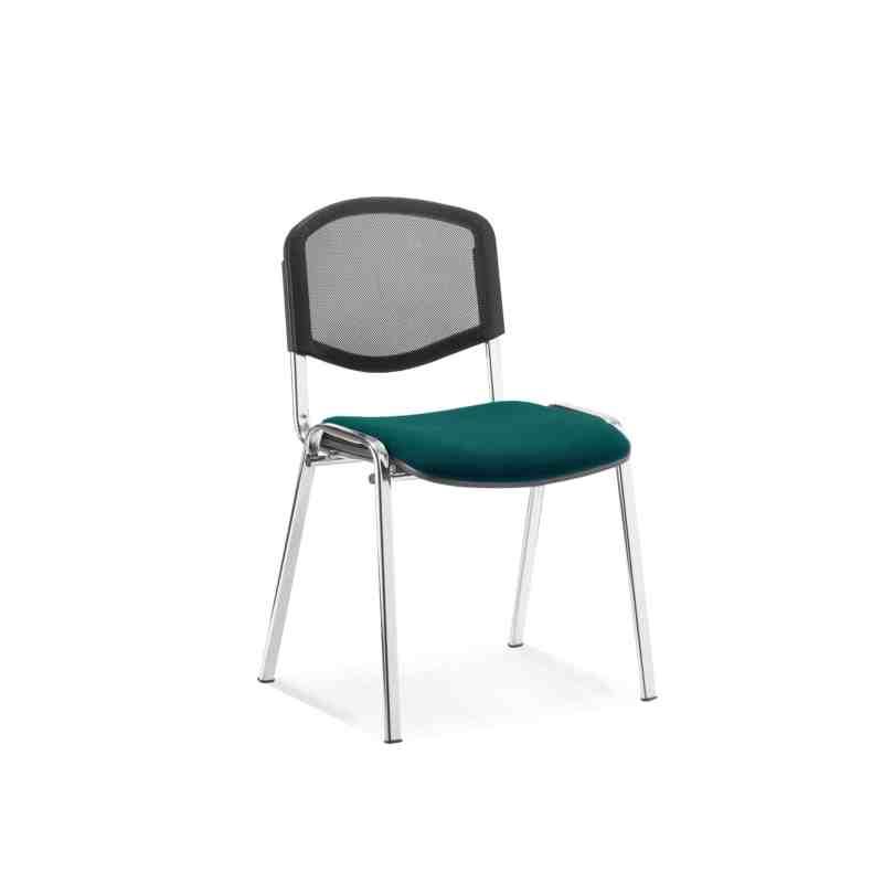 ISO Chrome Frame Mesh Back Bespoke Colour Fabric - (Min Order Qty X 4) Maringa Teal