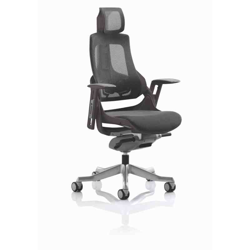 Zure Executive Chair Black Frame Charcoal Mesh With Headrest