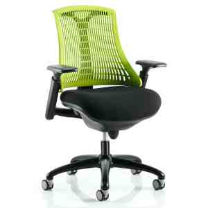 Flex Task Operator Chair Black Frame With Black Fabric Seat Green Back With Arms