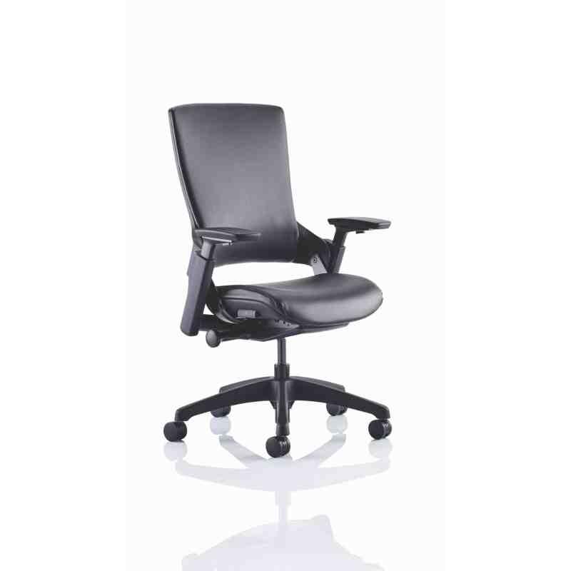 "Molet ""Task Exec"" Black Frame Black Leather Chair"
