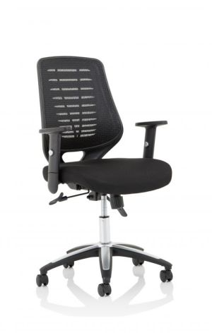 Relay Task Operator Chair Airmesh Seat Black Back With Height Adjustable Arms