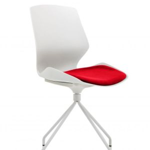 Florence Spindle White Frame Visitor Chair in Bergamot Cherry