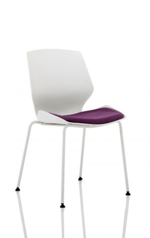 Florence White Frame Visitor Chair in Tansy Purple