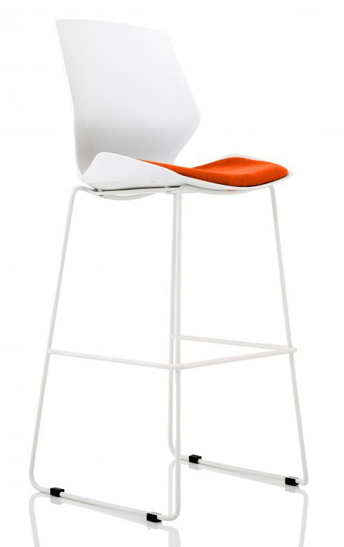 Florence White Frame High Stool in Tabasco Red