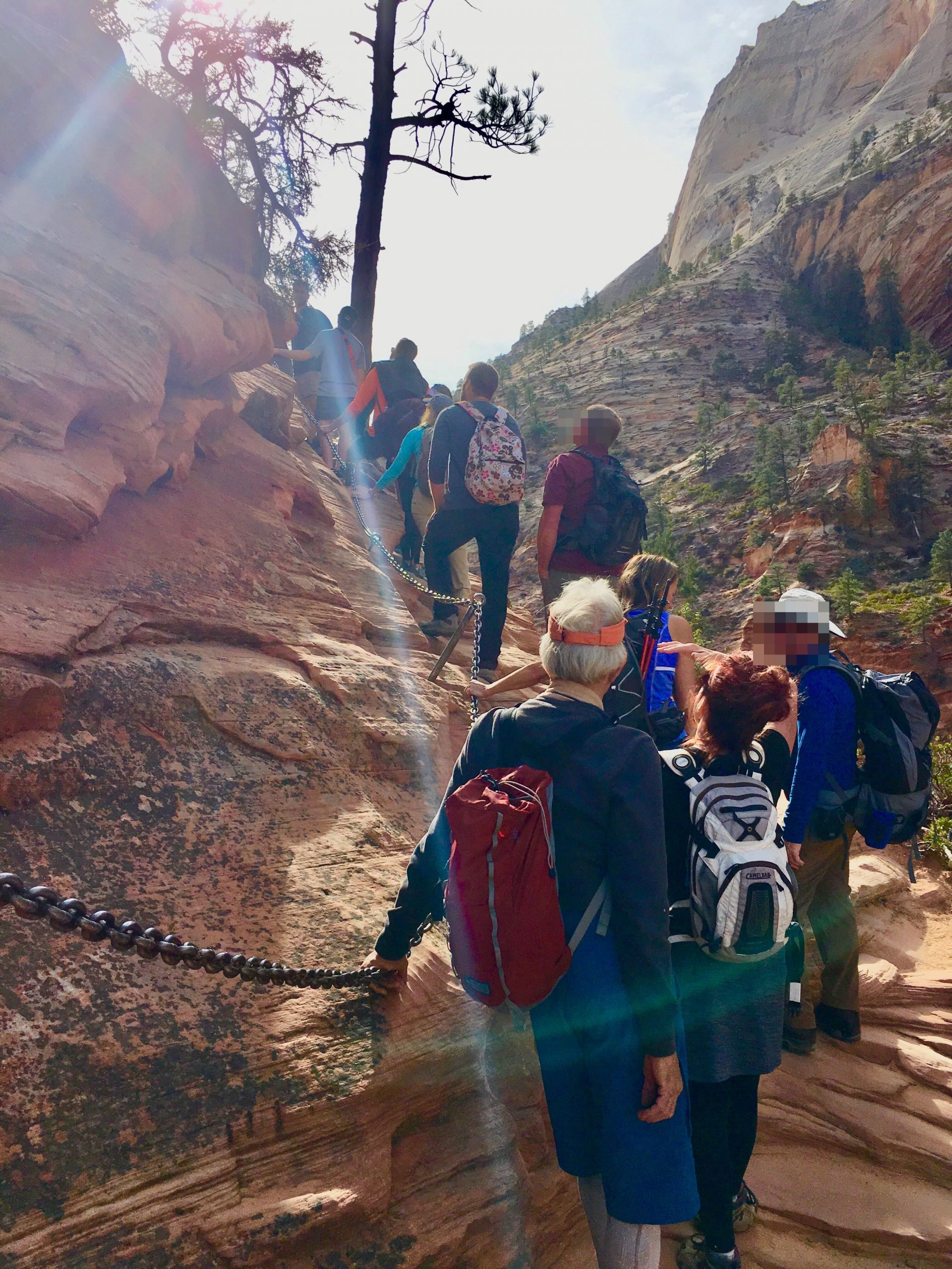 Crowds on Angels Landing Trail at Zion National Park