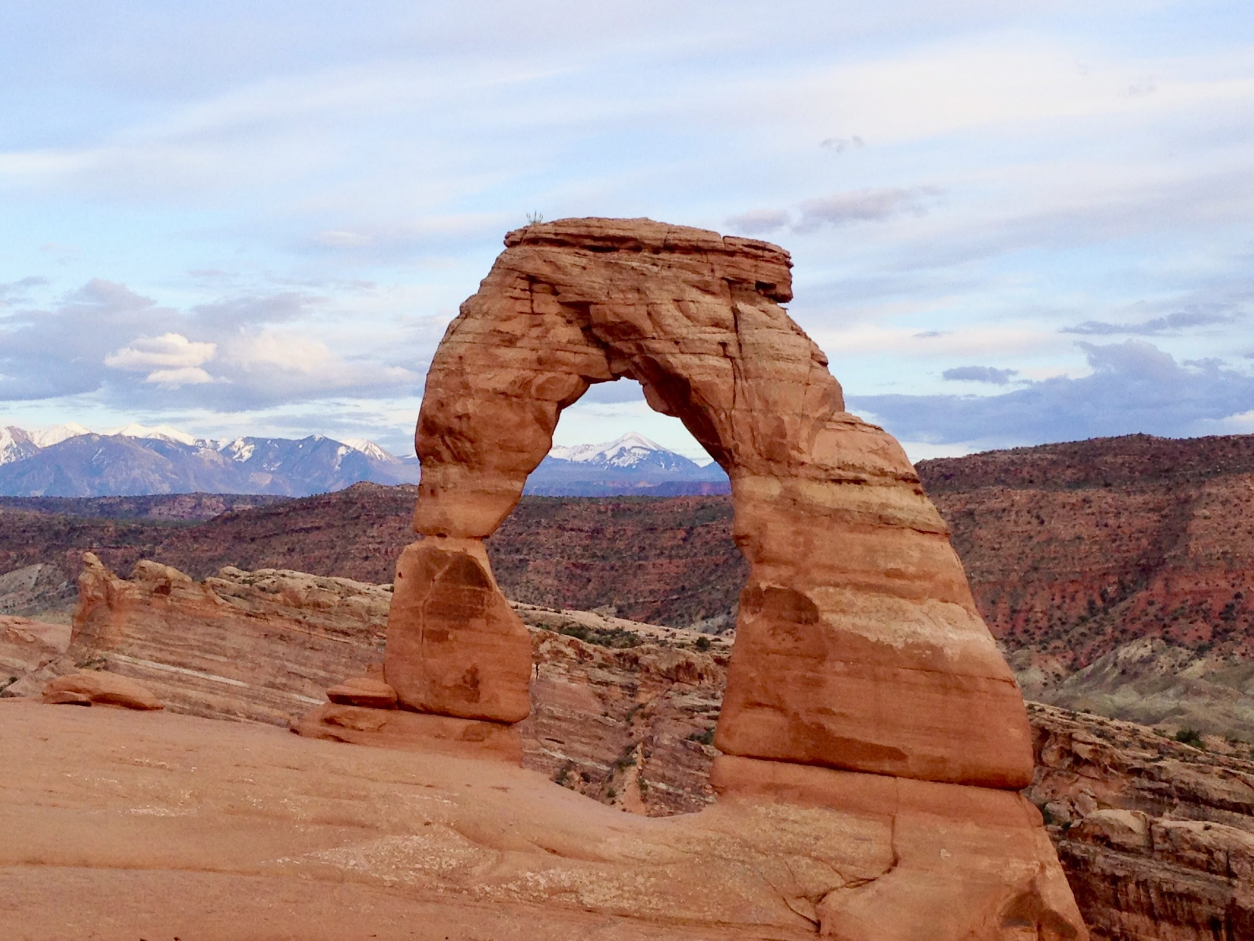 Delicate Arch with Mountain View at Arches National Park