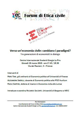 Festival Nazionale dell'Economia Civile, verso il Forum di Etica Civile