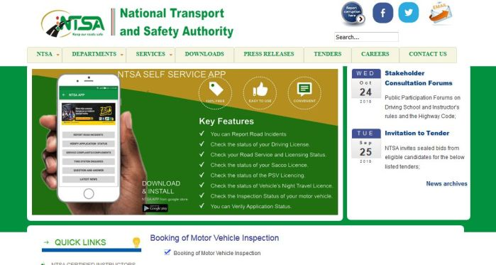 Booking of Motor Vehicle Inspection kenya