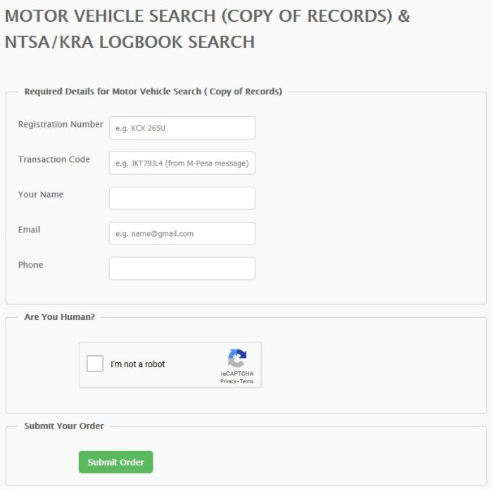 MOTOR VEHICLE SEARCH - NTSA Online Vehicle Search - NTSA_KRA Logbook Kenya