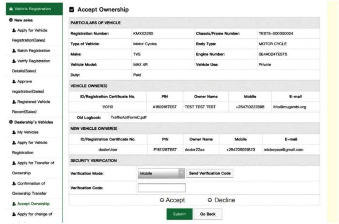 NTSA Motor Vehicle Logbook Transfer Charges