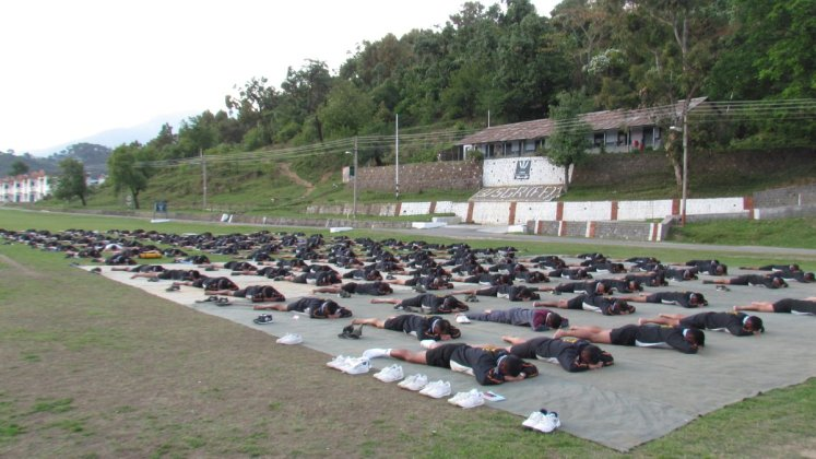 Early morning yoga training for soldiers at Dharamshala, H.P.