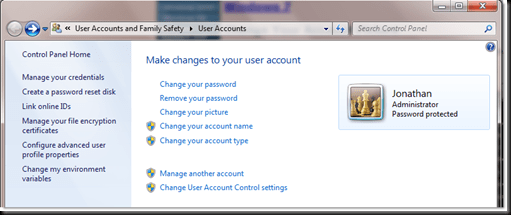 user accounts control panel