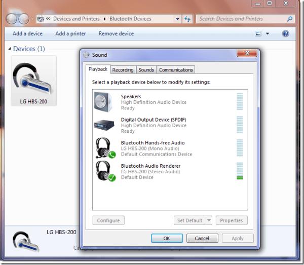 LG HBS 200 bluetooth windows 7