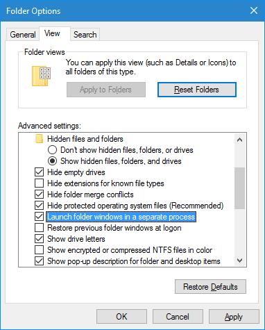 Windows 10 - Folder Options