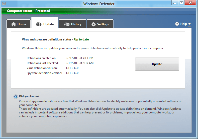 does windows defender update automatically