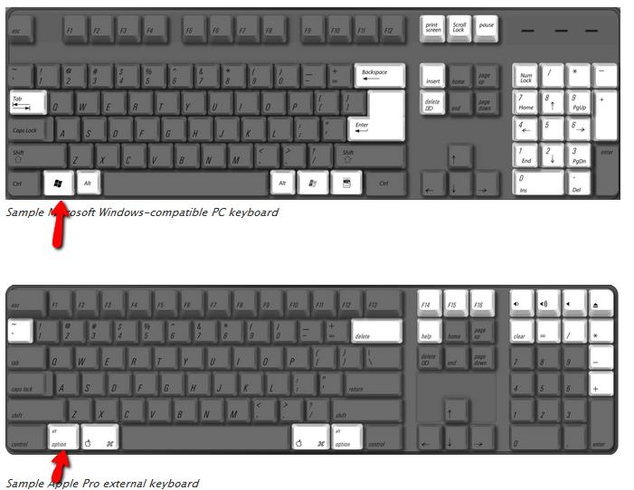 apple keyboard on pc