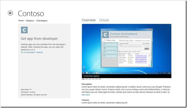 Windows store desktop app listing page