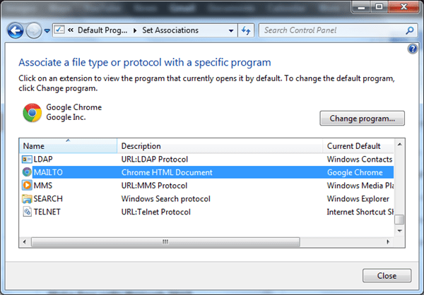 Windows 7 MailTo Setup