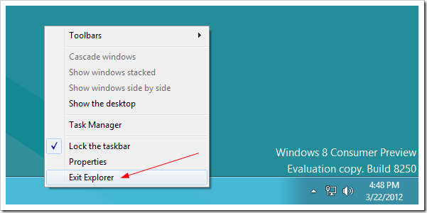 Exit Explorer in Windows 8