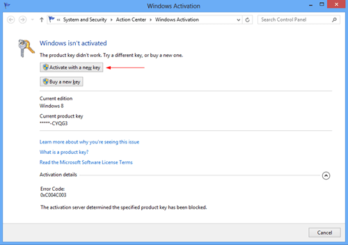 Windows 8 Activation Window