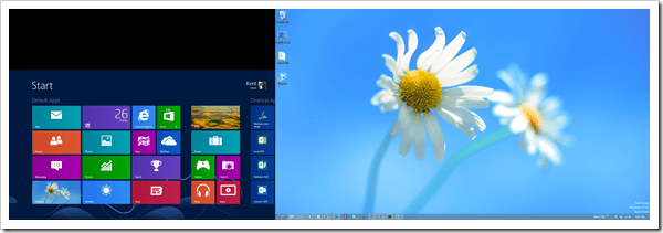 Windows 8 Dual Screen - Start screen and desktop