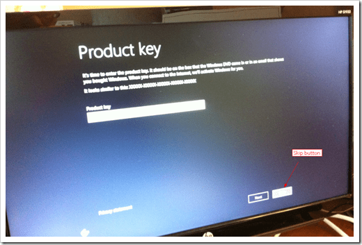 Windows 8 Skip Product Key