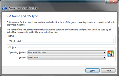 Windows 8 VirtualBox Create VM #1