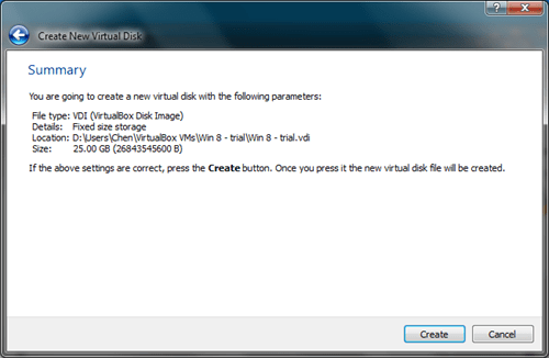 Windows 8 VirtualBox Create Virtual Disk