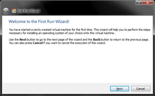 Windows 8 VirtualBox First Run Wizard