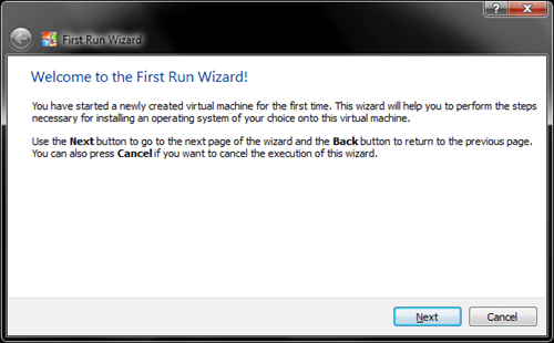 Windows 8 VirtualBox First Run Wizard