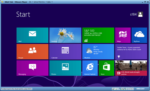 Windows 8 in VMware Player